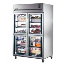 True STG2R-4HG Two Section Glass Half Door Reach In Refrigerator - 56 Cu. Ft.