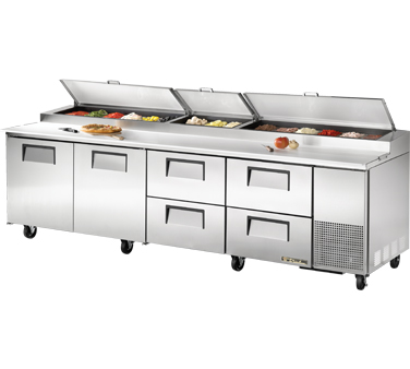 True TPP-119D-4 43.9 Cu Ft Pizza Prep Table With 19.5