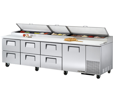 True TPP-119D-6 43.9 Cu Ft Pizza Prep Table With 19.5