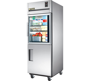 True STR1R-1HG/1HS One-Section Reach-In Refrigerator with Glass Half Door and Solid Bottom Door 31 Cu Ft