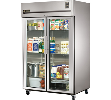 True STR2R-2G Two Section Reach In Glass Door Refrigerator 56 Cu. Ft.