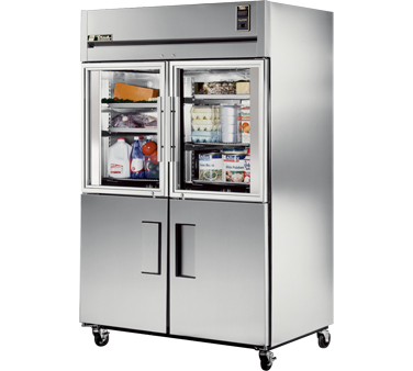 True STR2R-2HG/2HS  52 Reach In Refrigerator with Two Solid and Two Glass Half Doors 56 Cu. Ft.