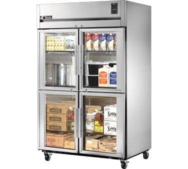True STR2R-4HG Two Section Reach In Refrigerator with Four Glass Half Doors 56 Cu Ft