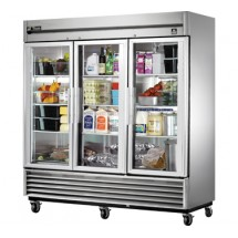 True TS-72G 72 Cu Ft Reach-In Three-Section Refrigerator