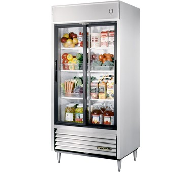 True TSD-33G-LD Two Section Sliding Glass Door Reach In Refrigerator - 33 Cu Ft