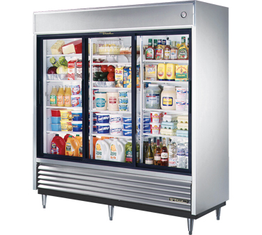 True TSD-69G-LD Three Section Sliding Glass Door Reach In Refrigerator 69 Cu Ft T