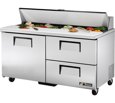 True TSSU-60-16D-2 15.5 Cu Ft Sandwich / Salad Prep Table With 11-3/4
