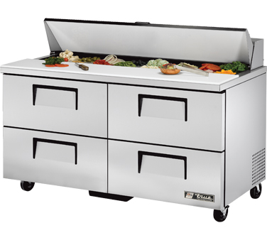 True TSSU-60-16D-4 15.5 Cu Ft Sandwich / Salad Prep Table With 11-3/4