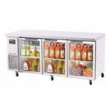 Turbo-Air-JUR-72-G--Three-Section-Glass-Door-Undercounter-Refrigerator---19-Cu-Ft-