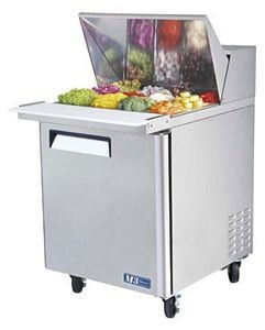 Turbo Air MST-28-12-N M3 Series  1 Door Mega Top Stainless Steel Refrigerated Sandwich Prep Table 28