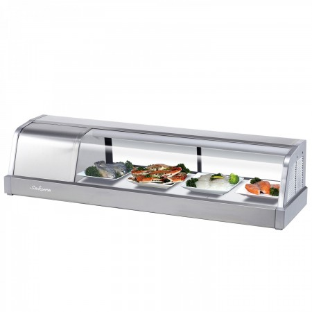 "Turbo Air SAK-50L-N Stainless Steel Curved Glass 50""  Refrigerated Sushi Case, Left Side Compressor"