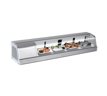 "Turbo Air SAK-60L-N Stainless Steel Curved Glass 60""  Refrigerated Sushi Case, Left Side Compressor"