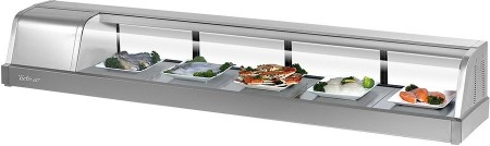 "Turbo Air SAK-70L-N Stainless Steel Curved Glass 70""  Refrigerated Sushi Case, Left Side Compressor"