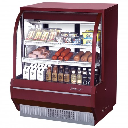Turbo Air TCDD-48H-R-N  Red Curved Glass Refrigerated Deli Case 48