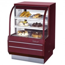 Turbo Air TCGB-36DR-R-N  Red  Curved Glass Dry Bakery Display Case 36