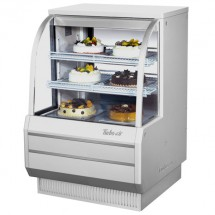 """Turbo Air TCGB-36DR-W-N White Curved Glass Dry Bakery Display Case 36"""""""