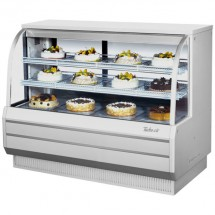 Turbo Air TCGB-60DR-W-N White Curved Glass Dry Bakery Display Case 60""