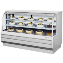 """Turbo Air TCGB-72-W-N White Curved Glass Refrigerated Bakery Display Case 72"""""""
