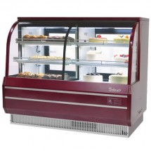 Turbo Air TCGB-72CO-R-N  Red Curved Glass Dual Dry / Refrigerated Bakery Display Case 72