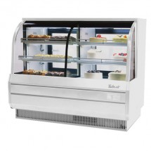 "Turbo Air TCGB-72CO-W-N White Curved Glass Dual Dry / Refrigerated Bakery Display Case 72""W"