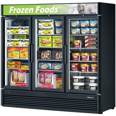 Turbo Air TGF-72SDB-N Black Three Section Glass Door Merchandiser Freezer 78""