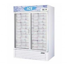 Turbo Air TGIM-49W-N White Two Section Glass Door Ice Merchandiser 55