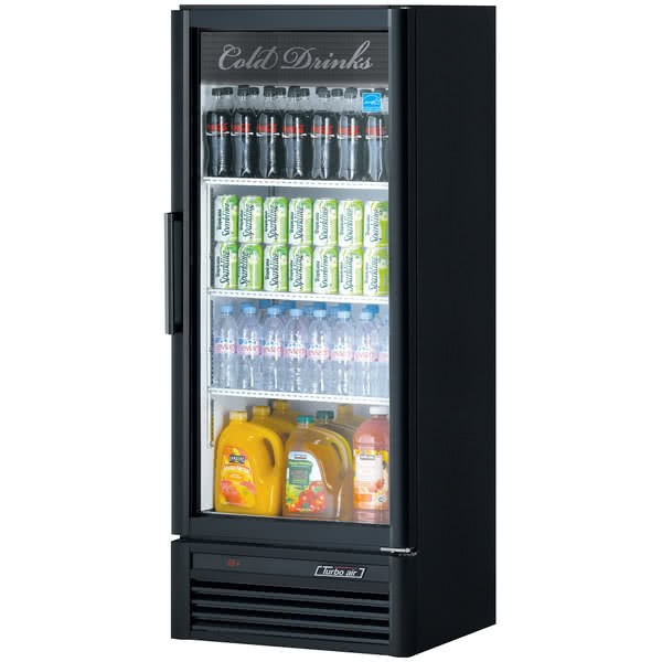 Turbo Air TGM-12SD Black Super Deluxe Single Glass Door Refrigerated Merchandiser - 11.3 Cu Ft.