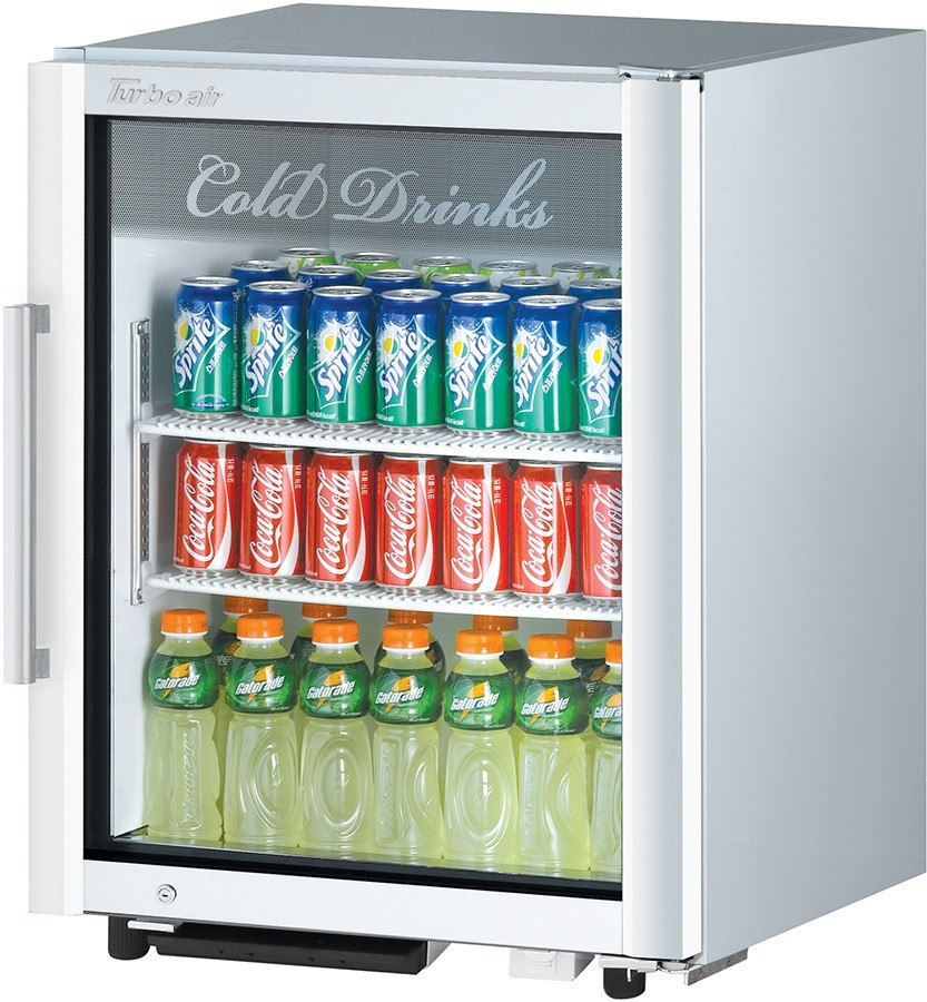 Turbo Air TGM-5SD White Super Deluxe Single Glass Door Countertop Refrigerated Merchandiser - 5.9 Cu Ft.