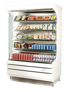 Turbo Air TOM-40 39'' White Vertical Open Display Merchandiser