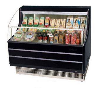 Turbo Air TOM-40SB 39'' Slim-Line Black Horizontal Open Display Merchandiser