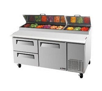 Turbo Air TPR-67SD-D2-N Pizza Prep Table with 1 Door and 2 Drawers 67