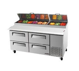 Turbo Air TPR-67SD-D4 Two-Section Super Deluxe Pizza Prep Table