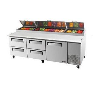 Turbo Air TPR-93SD-D4 Three-Section Super Deluxe Pizza Prep Table