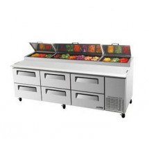 Turbo Air TPR-93SD-D6 Three-Section Super Deluxe Pizza Prep Table