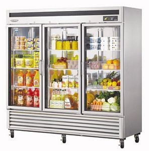 Turbo Air TSR-72GSD-N Super Deluxe  Three-Section Reach-In Glass Door Refrigerator
