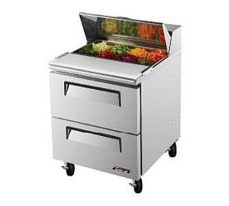 Turbo Air TST-28SD-D2 One-Section 7 Cu. Ft. 2 Drawer Super Deluxe Sandwich/Salad Unit