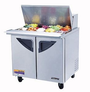 Turbo Air TST-36SD-15 Mega Top Two-Sections 11 Cu. Ft. 2 Door Super Deluxe Sandwich/Salad Unit
