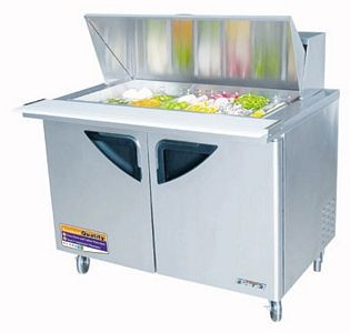 Turbo Air TST-48SD-18 Mega Top Two-Section 15 Cu. Ft. 2 Door Super Deluxe Sandwich/Salad Unit