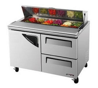 Turbo Air TST-48SD-D2-N 1 Door 2 Drawer Refrigerated Sandwich Prep Table  48