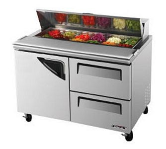 Turbo Air TST-48SD-D2 Two-Section 12 Cu. Ft. 2 Drawer Super Deluxe Sandwich/Salad Unit
