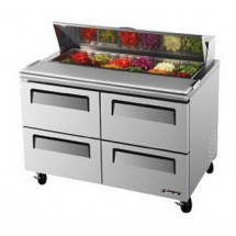 Turbo Air TST-48SD-D4 Two-Section 12 Cu. Ft. 4 Drawer Super Deluxe Sandwich/Salad Unit
