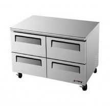 Turbo Air TUR-48SD-D4 One-Section 12 Cu. Ft. 4 Drawer Super Deluxe Series Undercounter Refrigerator