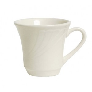 Tuxton YEF-070 Monterey Embossed Rim China Tall Cup 3-3/8
