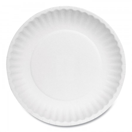 """Uncoated White Paper Plates, 6"""", Bulk Pack, 1000/Carton"""