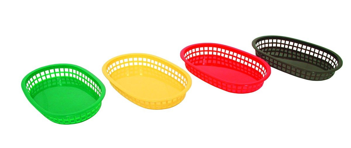 Update International BB107R Red Oval Fast Food Basket - 1 doz