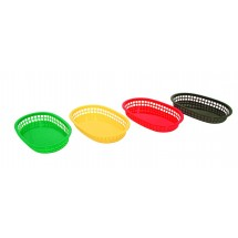 Update International BB107Y Yellow Oval Fast Food Basket - 1 doz