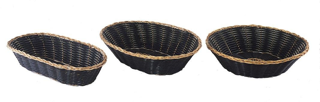 Update International BBV-8R Black and Gold Round Bread Basket