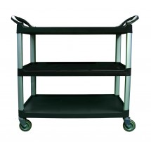 Update International BC-3520BZ Black 3-Tier Utility Bus Cart