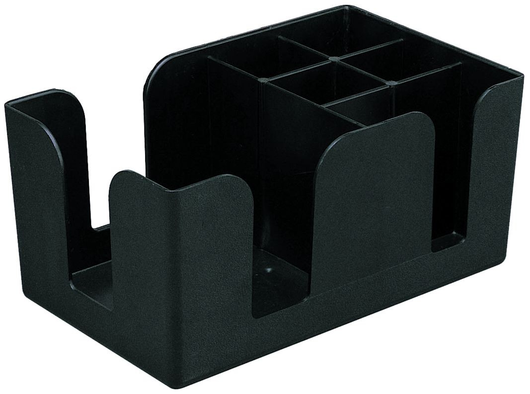 Update International BO-6C Black Plastic 6 Compartment Bar organizer