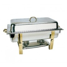 Update International DC-6N Stainless Steel Oblong Gold-Accented Chafer 8 Qt.